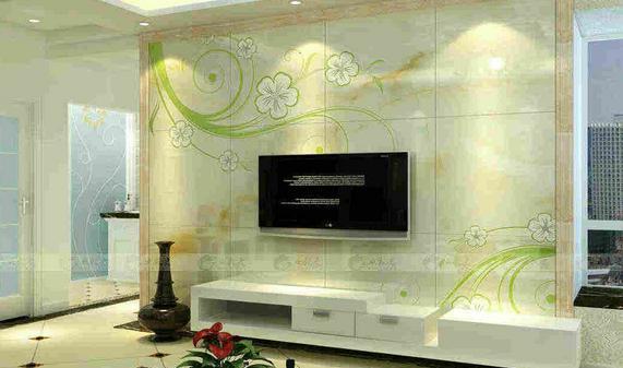 客厅电视背景墙瓷砖  美式客厅印花大理石电视背景墙造型