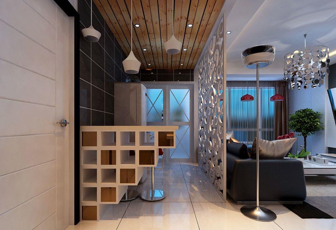 形式,其实厨房与其他区域的半隔断方式很多,有用 吧台隔断,有用玻璃图片