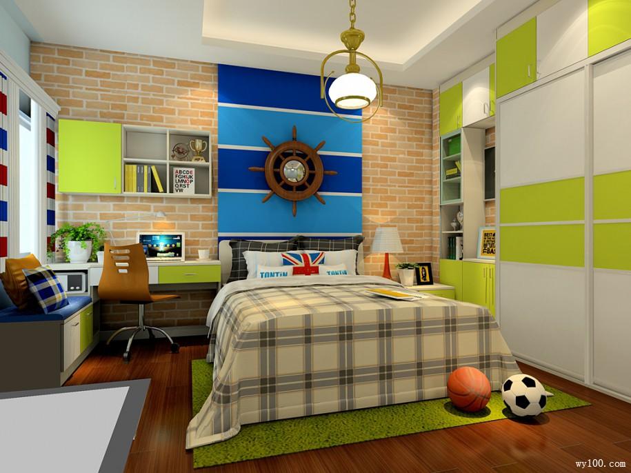 地中海式儿童房效果图 绿意青葱书柜组合