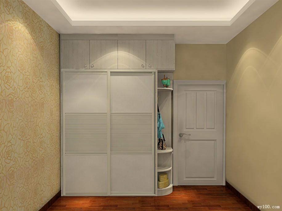 到顶趟门衣柜,圆弧设计,减弱入门突兀感图片