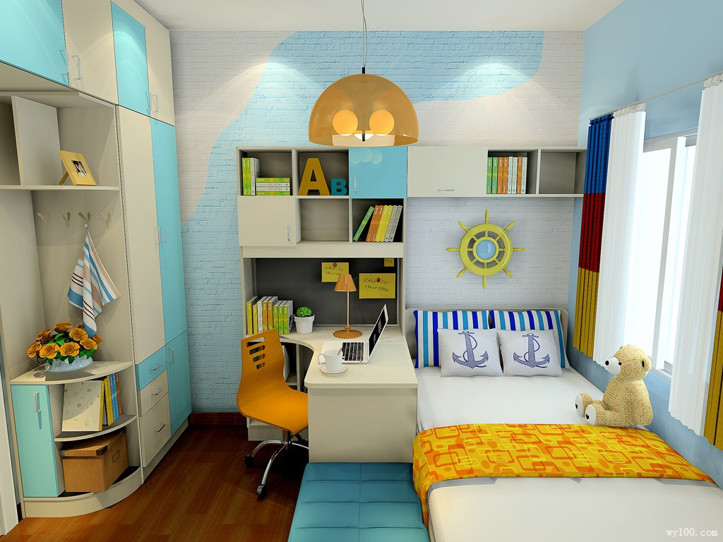 清爽型儿童房效果图 6㎡蓝黄色凸显男孩房的特性