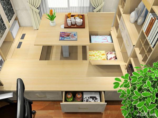 榻榻米书房设计 简易书柜设置增加自然舒适感_维意定制家具商城