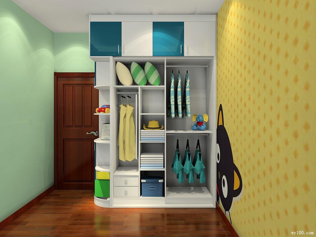 绿色儿童房效果图 9平书柜的设计满足孩子学习需求