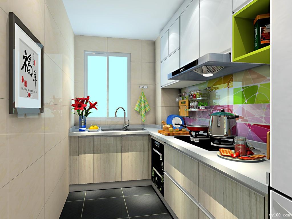 l型厨房效果图 5平彩斑斓的背景墙使空间更清新