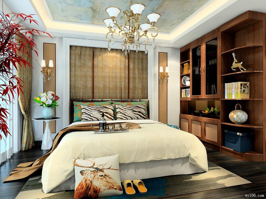 现代卧室装修效果图 独特背景墙凸显空间时尚,大气