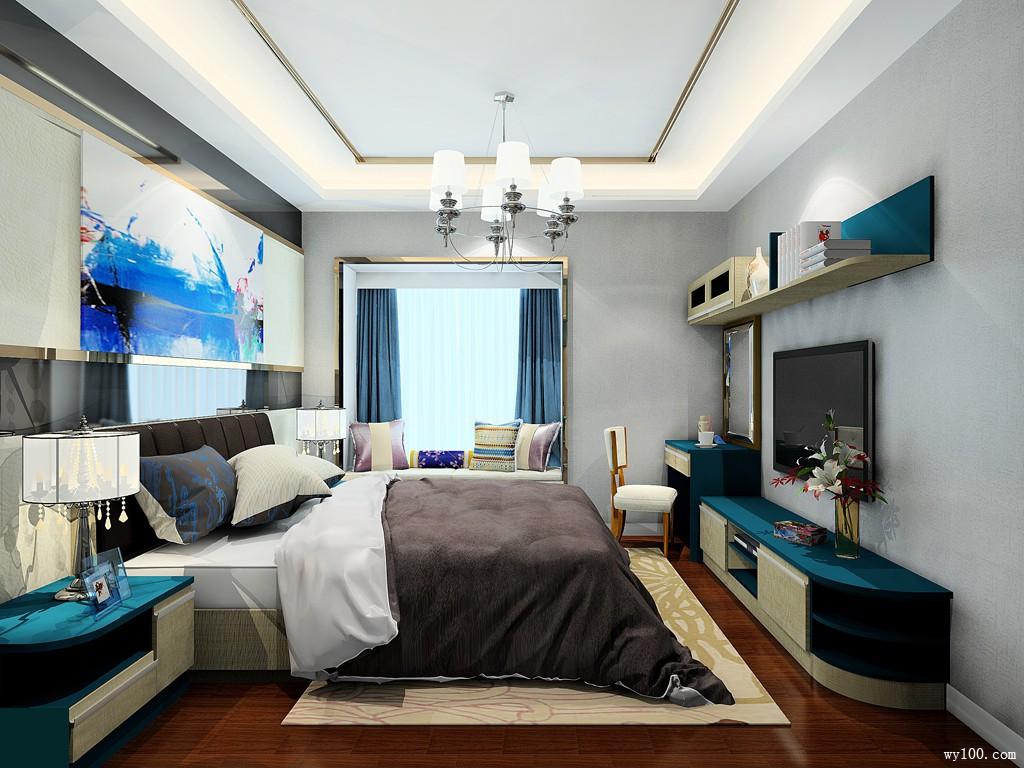 现代简约卧房效果图 13㎡梳妆台电视柜组合