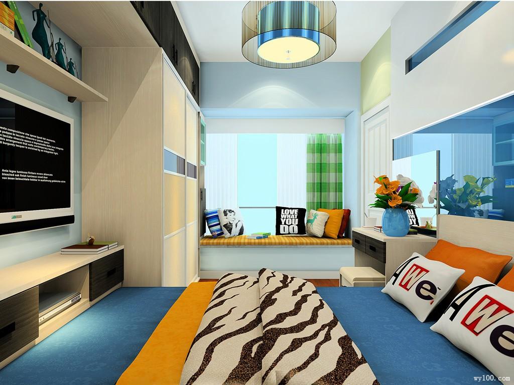 地中海卧室效果图 8㎡设计电视柜组合