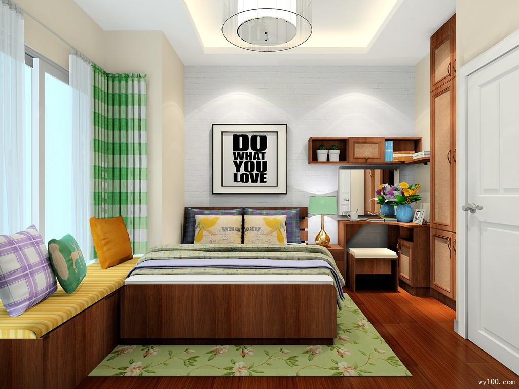 飘窗梳妆台卧室效果图 8㎡设计嵌入式衣柜