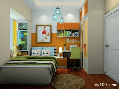 儿童房装修效果图 6�O布置上床、床头柜、书桌 title=