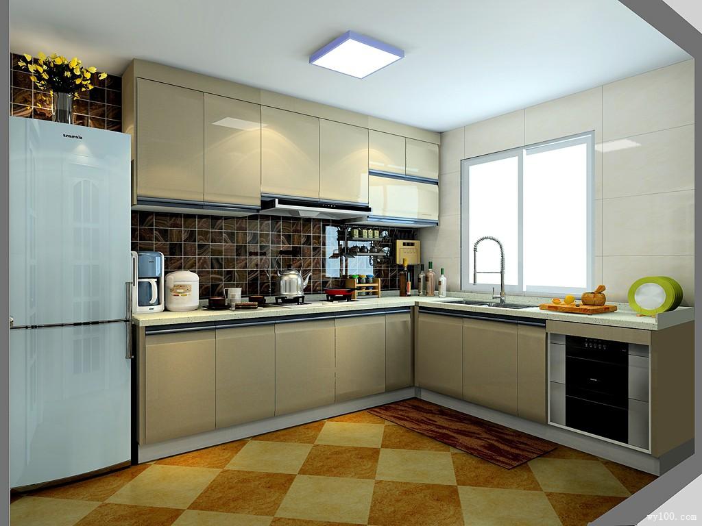 l型厨房设计效果图 8平用掩门吊柜把烟机包起来