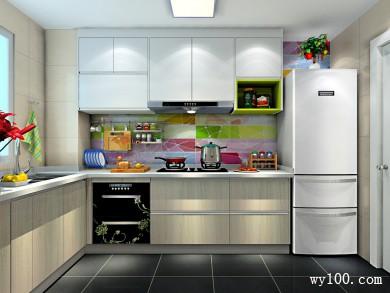 L型厨房效果图 5平彩斑斓的背景墙使空间更清新 title=