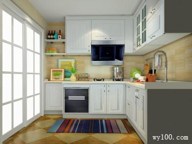 小厨房效果图 4�O雅致的纯色板材点缀 title=