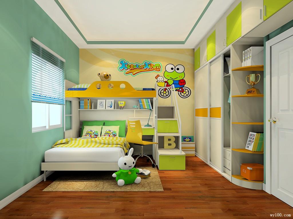 儿童房装修效果图 11㎡柜体整体连贯