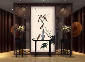 中国古典花鸟画玄关背景墙