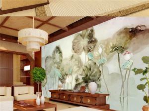 古典手绘中式客厅背景墙