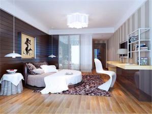 现代圆形床卧室效果图