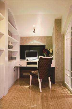 阳台改书房效果图书柜书桌