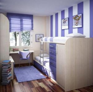 组合儿童房双层床效果图