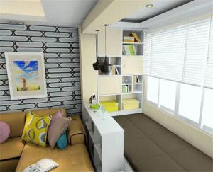 客厅沙发与客厅榻榻米之间的矮柜