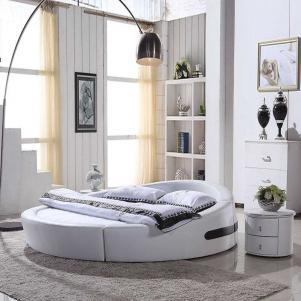 皮艺床圆形床卧室效果图