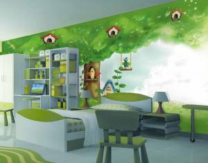 绿色背景墙的国外儿童房