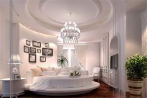 乳白色圆形床卧室效果图搭