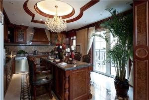 别墅开放式厨房橱柜实景图
