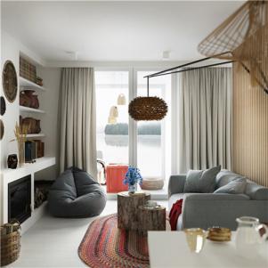 小户型复式装修客厅沙发摆