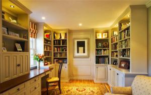 高清书房飘窗书柜