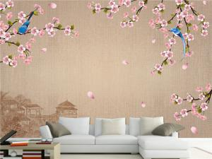 手绘花鸟中式客厅背景墙