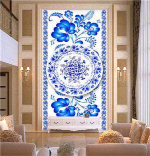 中式青花瓷玄关背景墙