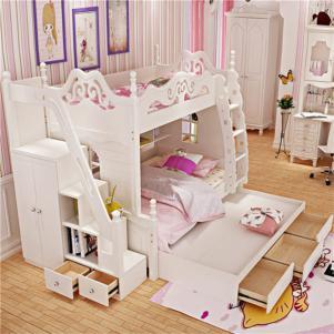 儿童房双层床效果图家具套