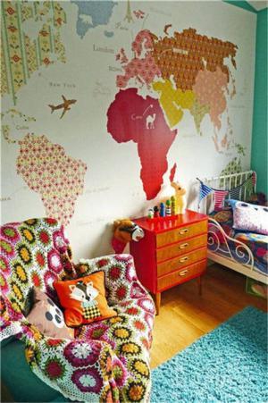 国外儿童房壁纸搭配