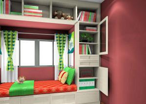 红色榻榻米书房装修效果图