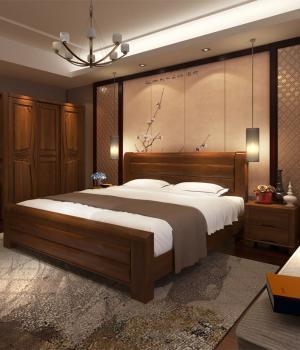 中式风格实木家具主卧室的