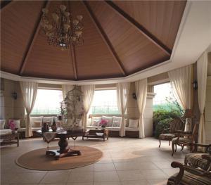美式客厅沙发摆放效果图