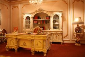 简约欧式书桌书柜组合