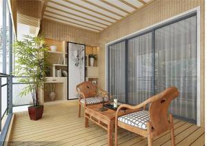 日式别墅阳台外观效果图