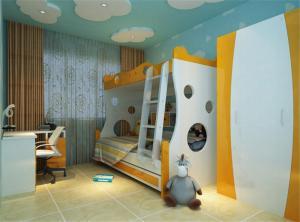 现代活力儿童房双层床效果