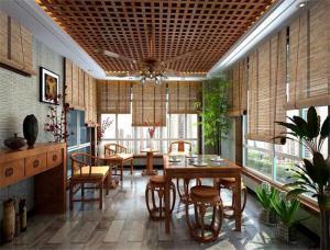 新中式阳台改餐厅效果图