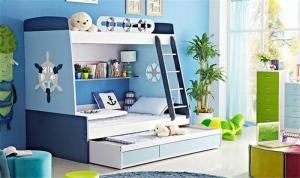 海洋风儿童房双层床效果图