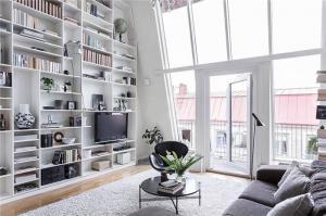 现代简约小户型客厅书柜