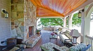 美式别墅阳台外观效果图