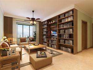 新中式小户型客厅书柜