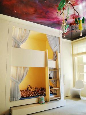 黄色卧室上下床装修效果图