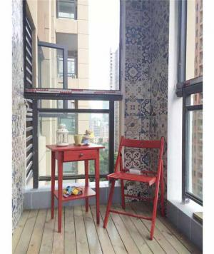 高清阳台防腐木效果图