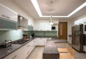 大理石台面开放式厨房橱柜
