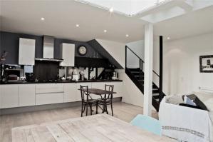 黑白色开放式厨房橱柜